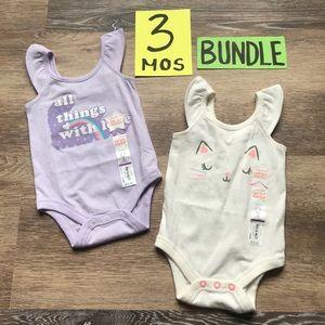 🛍NWT Jumping Beans Girls 3 Month Onesie Bundle